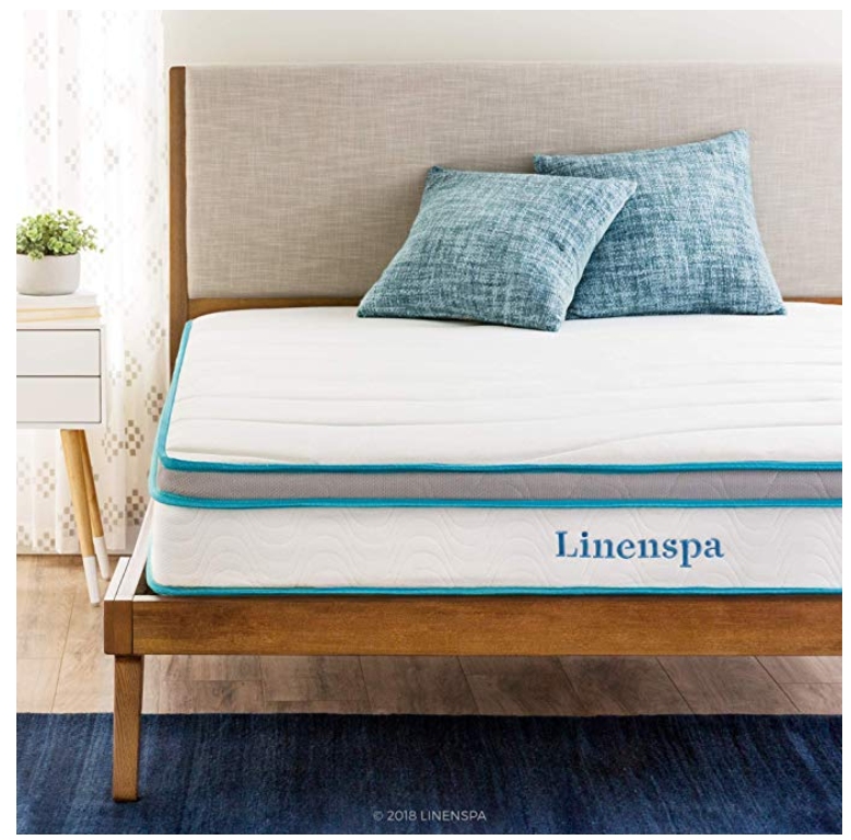 linenspa 8 or 10 inch hybrid mattress