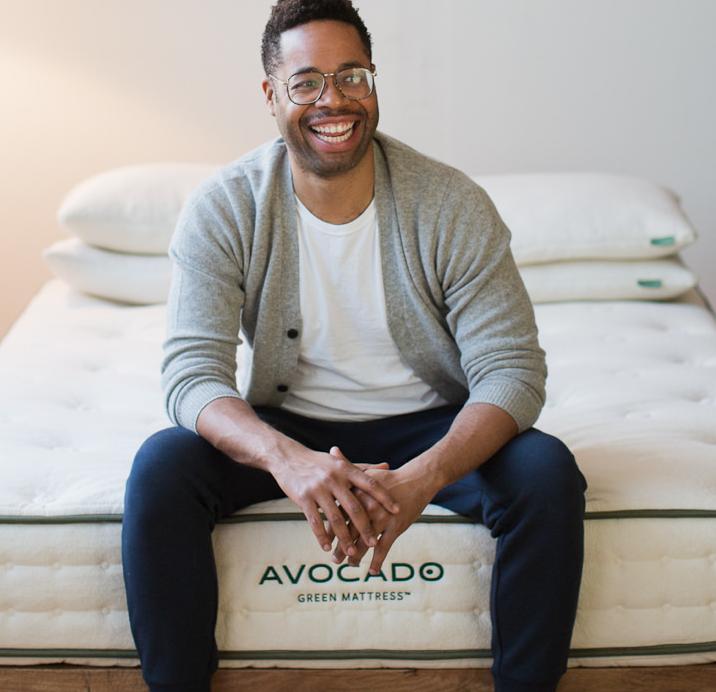 avocado green mattress happy man