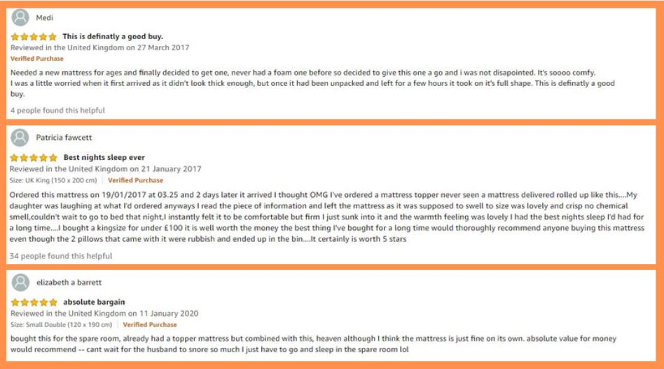 Visco Therapy Mattress - 5 Star Review Examples