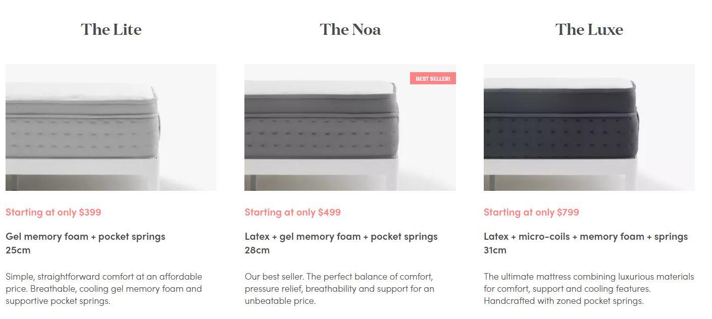 Noa Mattress Review - Noa Mattress Range